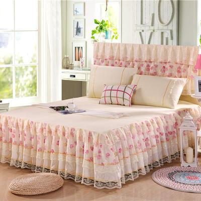 2019新款蕾丝床裙(凤舞玫瑰,富贵牡丹) 120*200+45cm三件套 富贵牡丹(米黄)