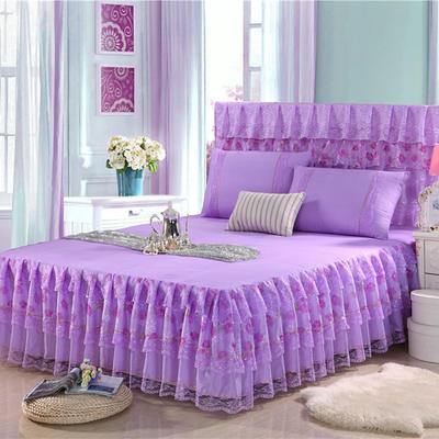 2019新款蕾丝床裙(凤舞玫瑰,富贵牡丹) 120*200+45cm三件套 富贵牡丹(紫色)