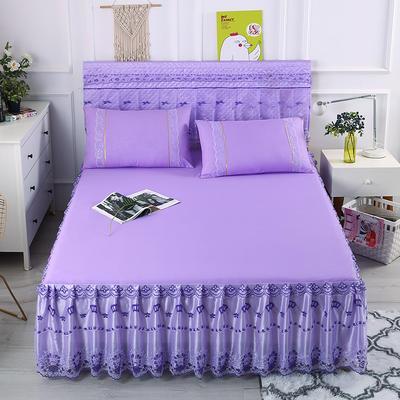 2019新款蕾丝床裙(皇冠) 150*200+45cm单床裙 皇冠-紫色