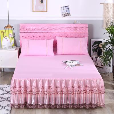 2019新款蕾丝床裙(欧尚) 150*200+45cm单床裙 欧尚-粉色