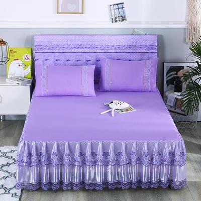 2019新款蕾丝床裙(欧尚) 150*200+45cm三件套 欧尚-紫色