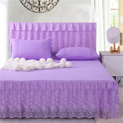 2019新款蕾丝床裙(月满花香) 150*200+45cm单床裙 月满花香(紫色)