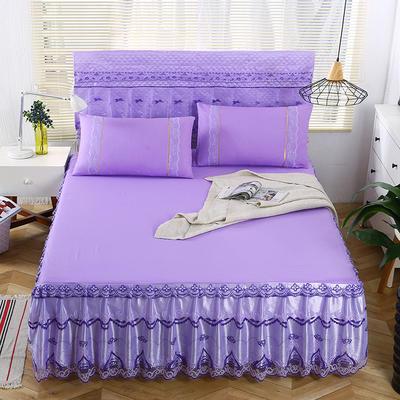 2019新款蕾丝床裙(绽放) 150*200+45cm三件套 绽放-紫色