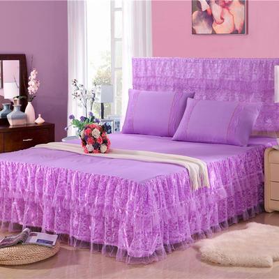 2019新款蕾丝床裙-繁花似锦 120*200+45cm三件套 繁花似锦-紫色