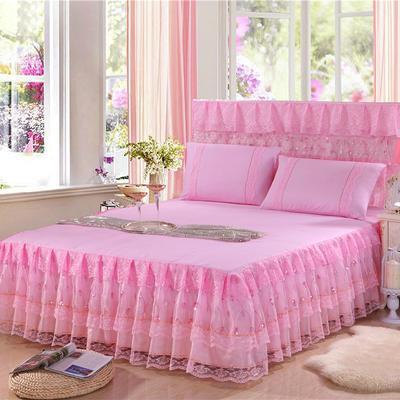 2019新款蕾丝床裙-流光溢彩 120*200+45cm三件套 流光溢彩(粉色)