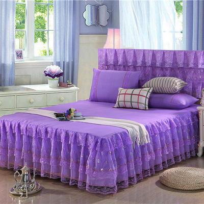 2019新款蕾丝床裙-流光溢彩 120*200+45cm三件套 流光溢彩(紫色)