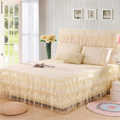 2019新款蕾丝床裙-美满家园 120*200+45cm单床裙 美满家园-米黄