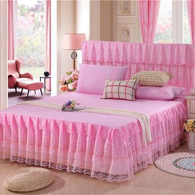 2019新款蕾丝床裙-时尚波点 120*200+45cm三件套 时尚波点(粉色)