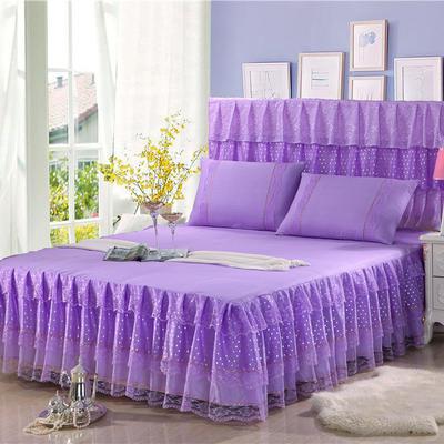 2019新款蕾丝床裙-时尚波点 120*200+45cm三件套 时尚波点(紫色)