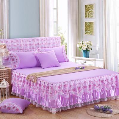 2019新款蕾丝床裙(公主佳人) 120*200+45cm三件套 公主佳人(紫色)