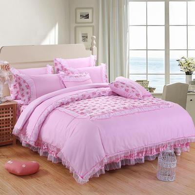 2019新款蕾丝床裙四件套 1.2m(4英尺)床 四件套公主佳人粉色