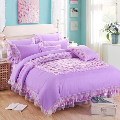 2019新款蕾丝床裙四件套 1.2m(4英尺)床 四件套公主佳人紫色