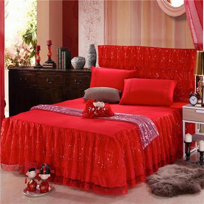 2019新款婚庆大红色蕾丝床裙系列 150*200+45cm三件套 百年好合