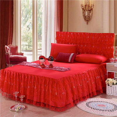 2019新款婚庆大红色蕾丝床裙系列 150*200+45cm三件套 喜结良缘