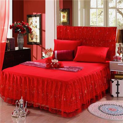 2019新款婚庆大红色蕾丝床裙系列 150*200+45cm三件套 永结同心