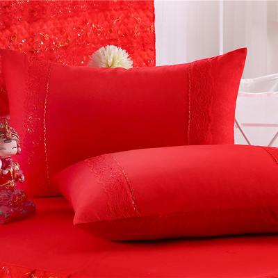 2019新款婚庆大红色蕾丝床裙系列-单枕套 48cmX74cm 喜结良缘
