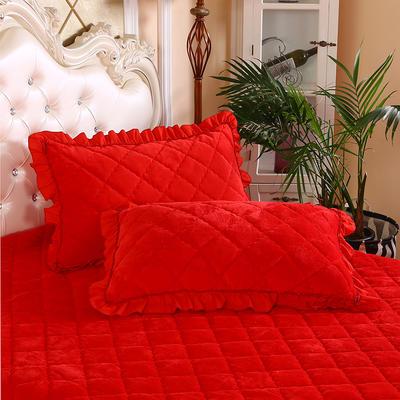 2020新款法莱绒夹棉绗绣枕套48*74cm 48cmX74cm/对 大红