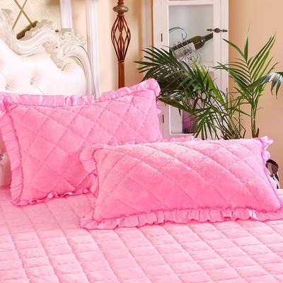 2020新款法莱绒夹棉绗绣枕套48*74cm 48cmX74cm/对 粉红
