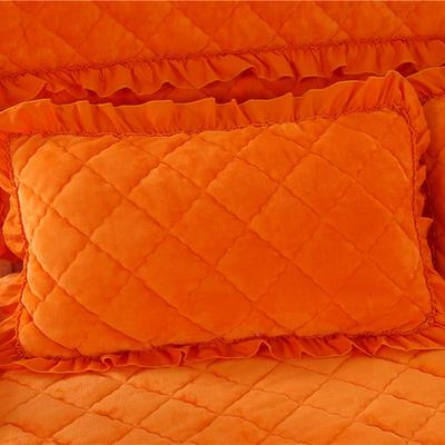 2020新款法莱绒夹棉绗绣枕套48*74cm 48cmX74cm/对 桔黄