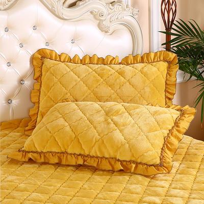 2019新款法莱绒夹棉绗绣枕套48*74cm 48cmX74cm/对 柠檬黄