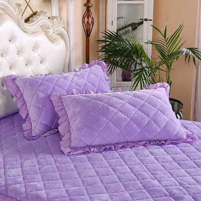 2020新款法莱绒夹棉绗绣枕套48*74cm 48cmX74cm/对 浅紫