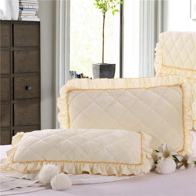 2019新款法莱绒夹棉绗绣枕套48*74cm 48cmX74cm/对 米黄