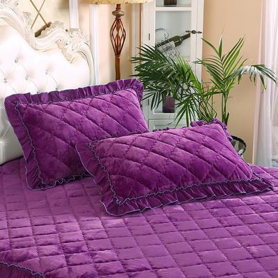2019新款法莱绒夹棉绗绣枕套48*74cm 48cmX74cm/对 紫罗兰