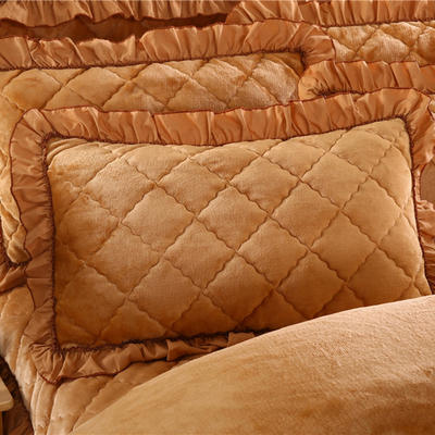 2019新款法莱绒夹棉绗绣枕套48*74cm 48cmX74cm/对 驼色