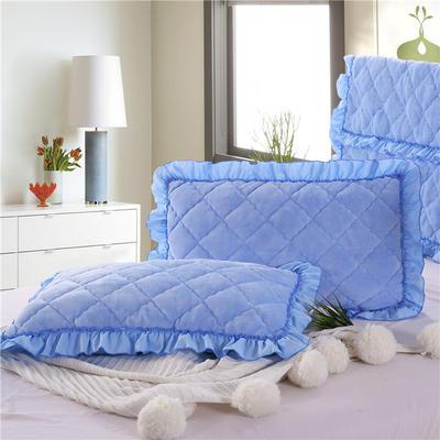2020新款法莱绒夹棉绗绣枕套48*74cm 48cmX74cm/对 天蓝