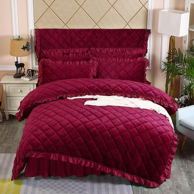 2019新款法莱绒夹棉单被套 150x200cm(3.4斤) 酒红