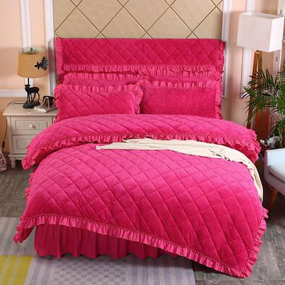 2019新款法莱绒夹棉单被套 150x200cm(3.4斤) 玫红