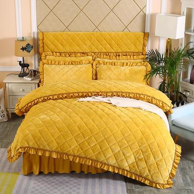 2019新款法莱绒夹棉单被套 150x200cm(3.4斤) 柠檬黄