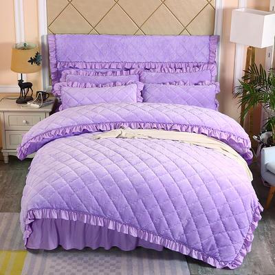 2019新款法莱绒夹棉单被套 150x200cm(3.4斤) 浅紫