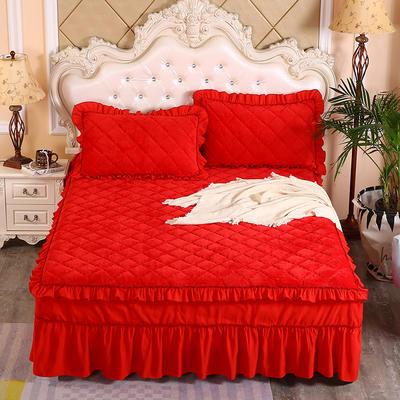 2020新款法莱绒夹棉单床裙 150*200+45cm 大红
