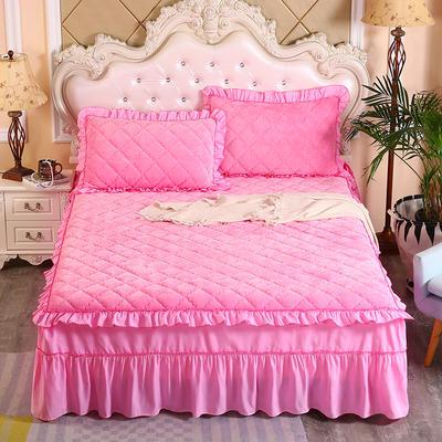 2020新款法莱绒夹棉单床裙 150*200+45cm 粉红