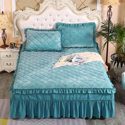 2020新款法莱绒夹棉单床裙 150*200+45cm 橄榄绿