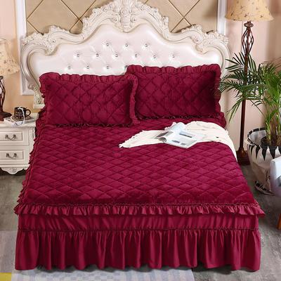 2020新款法莱绒夹棉单床裙 150*200+45cm 酒红