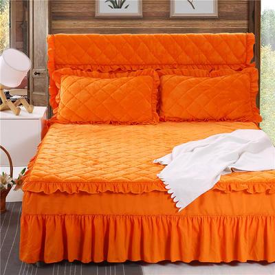 2020新款法莱绒夹棉单床裙 150*200+45cm 桔黄