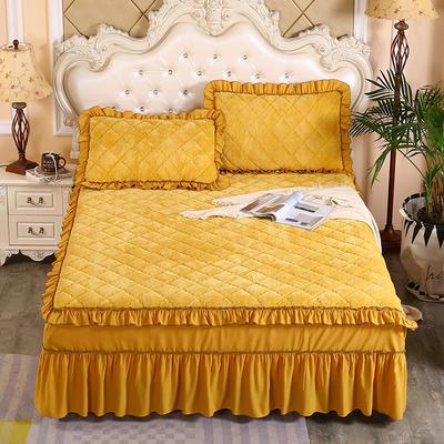2020新款法莱绒夹棉单床裙 150*200+45cm 柠檬黄