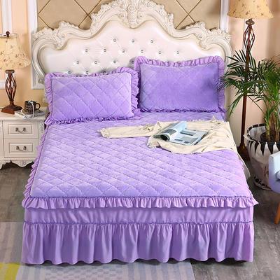 2020新款法莱绒夹棉单床裙 150*200+45cm 浅紫