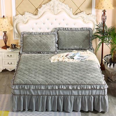 2020新款法莱绒夹棉单床裙 150*200+45cm 银灰