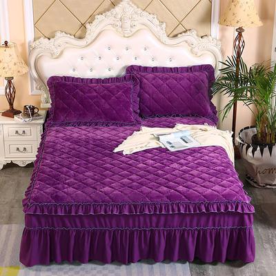 2020新款法莱绒夹棉单床裙 150*200+45cm 紫罗兰