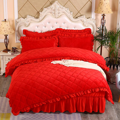 2020新款法莱绒夹棉被套床裙四件套 1.8m(床裙款四件套) 大红