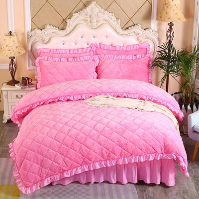 2020新款法莱绒夹棉被套床裙四件套 1.8m(床裙款四件套) 粉红