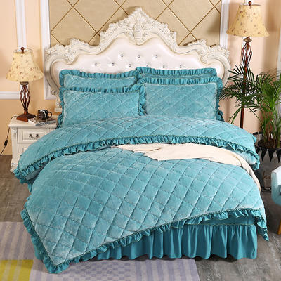 2020新款法莱绒夹棉被套床裙四件套 1.8m(床裙款四件套) 橄榄绿