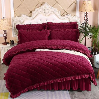 2020新款法莱绒夹棉被套床裙四件套 1.8m(床裙款四件套) 酒红