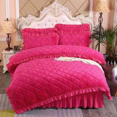 2020新款法莱绒夹棉被套床裙四件套 1.8m(床裙款四件套) 玫红