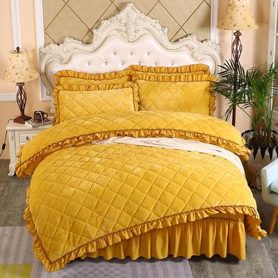 2019新款法莱绒夹棉被套床裙四件套 1.5m(床裙款四件套) 柠檬黄