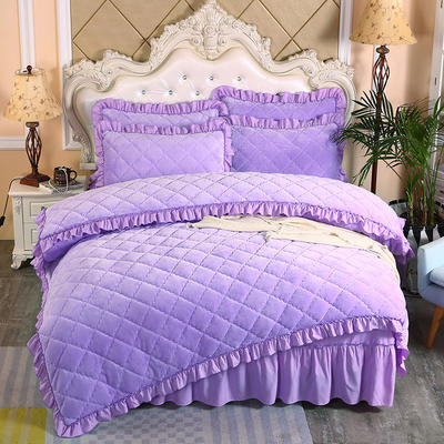 2020新款法莱绒夹棉被套床裙四件套 1.8m(床裙款四件套) 浅紫