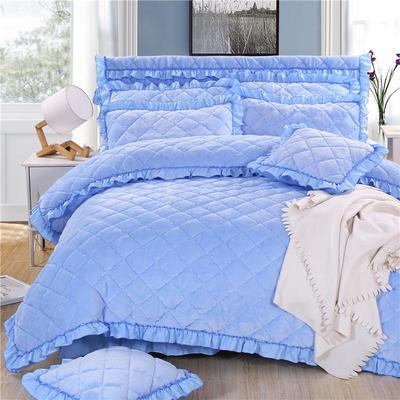 2020新款法莱绒夹棉被套床裙四件套 1.8m(床裙款四件套) 天蓝